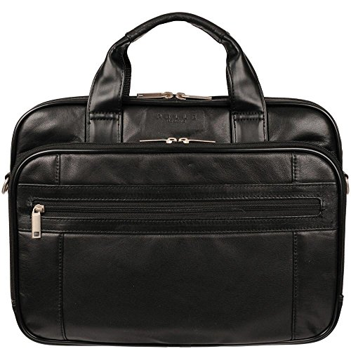 Black Lambskin Shoulder Bag - Wilsons Leather Mens Slim Italian Leather Brief W/ Faux-Leather Trim Black