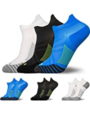 3 Pairs Compression Running Socks for Men & Women - T Tersely Low Cut No Show Athletic Socks for Stamina Circulation & Recovery - Ultra Durable Ankle Socks for Runners, Plantar Fasciitis