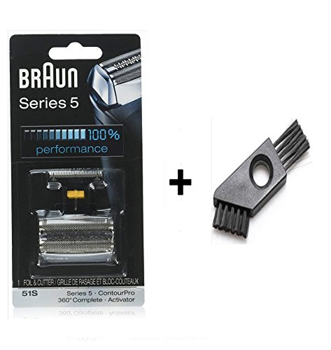 51S Series 5 8000 Series 360 Complete Activator ContourPro Electric Shaver Replacement Foil and Cutter Cassette Cartridge with Cleaning Brush (51S)