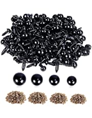 UPINS 800 Pieces Black Plastic Safety Eyes with Washers for Crochet Animal Crafts Doll Making Supplier Bulk (4 Sizes)