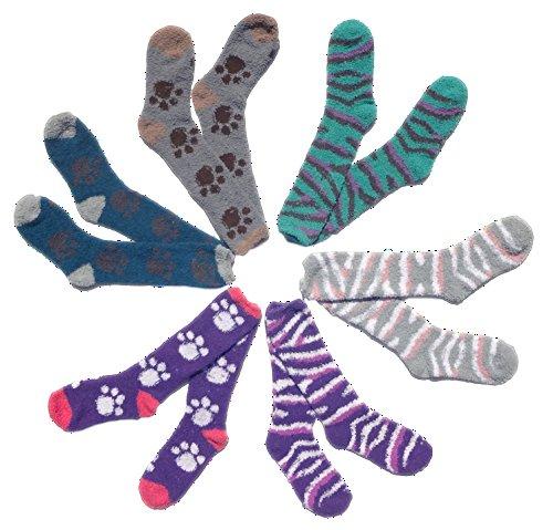Best 6 Pack Warm Winter Fuzzy Cozy Fluffy 3 Paw   3 Zebra Animal Print Purple Crew Socks Fashionnut Best Stocking Stuffer Gift Idea Teen Girl Women Girlfriend Teach Under  5