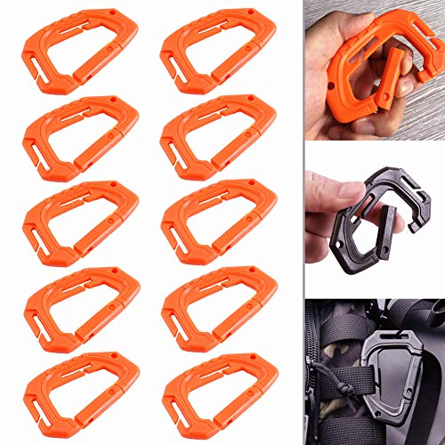 10Pcs Multipurpose Molle Tactical D Ring Clips Carabiner D-Ring Locking Buckle Hanging Hook Tactical Carabiner Keychain Spring Lock Buckle Tactical Backpack (Orange)
