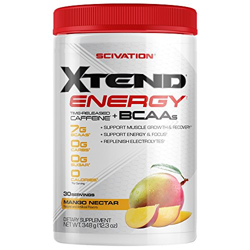 Scivation Xtend Energy BCAA Powder for Pre Workout Or Anytime Energy with Caffeine, Branched Chain Amino Acids, BCAAs, Mango, 30 Servings ()