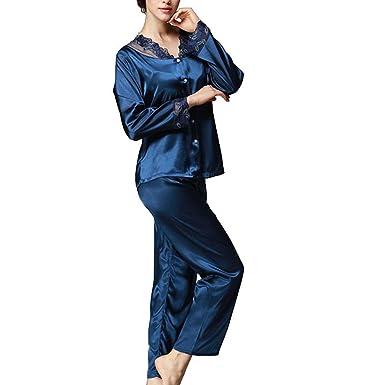 Mujer Batas Primavera Otoño De Pijama Conjunto Satín Camisas ...