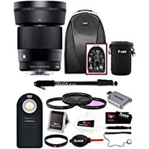 Sigma 30mm f/1.4 DC DN Lens for Sony E-Mount w/ Backpack & Monopod Bundle