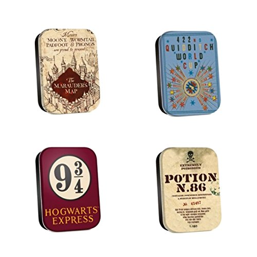 (Set of 4 Genuine Warner Bros Harry Potter 'Map' 1/2 oz Timeless Tins Keepsake Trinket Pill Box)