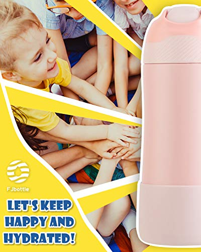 FEIJIAN FJbottle Kids Insulated Stainless Steel Water Bottle with Straw Lid, 14 oz, New Anti-Colic with AirFree Vent Technology Patent Design Care for Kids, BPA Free, Blush Pink