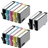 12 Inkfirst® Ink Cartridges (HP 564XL) Compatible Remanufactured for HP 564 564XL Photo, Black, Cyan, Magenta, Yellow (High Capacity) (2 Set + 2 Black) Photosmart 7510 7515 C6340 eStation C510a NEW VERSION CR277WN, CN684WN, CN685WN, CN686WN, CN687WN