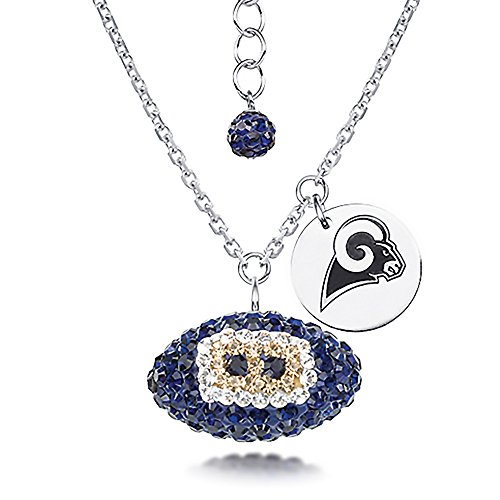 St Louis Rams Necklace Licensed NFL Team Crystal Football and Logo Charm (Louis Rams Logo Pendant)