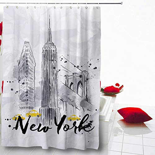 """Ahawoso Shower Curtain 72""""x72"""" Watercolor New York, used for sale  Delivered anywhere in USA"""
