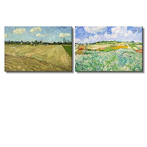 Plain near Auvers The Ploughed Field by Vincent Van Gogh Oil Painting Reproduction in Set of 2 x 2 Panels
