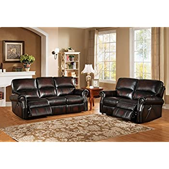 Bon Amax Leather Brooklyn Leather Reclining Sofa And Loveseat, Burgundy Brown