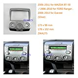 Autostereo Car Radio fascia Frame for FORD Ranger 2006-2010 Everest 2006-2013 MAZDA BT-50 2006+ Silver Car Radio Adapter In-Dash Mounting Frame 2DIN