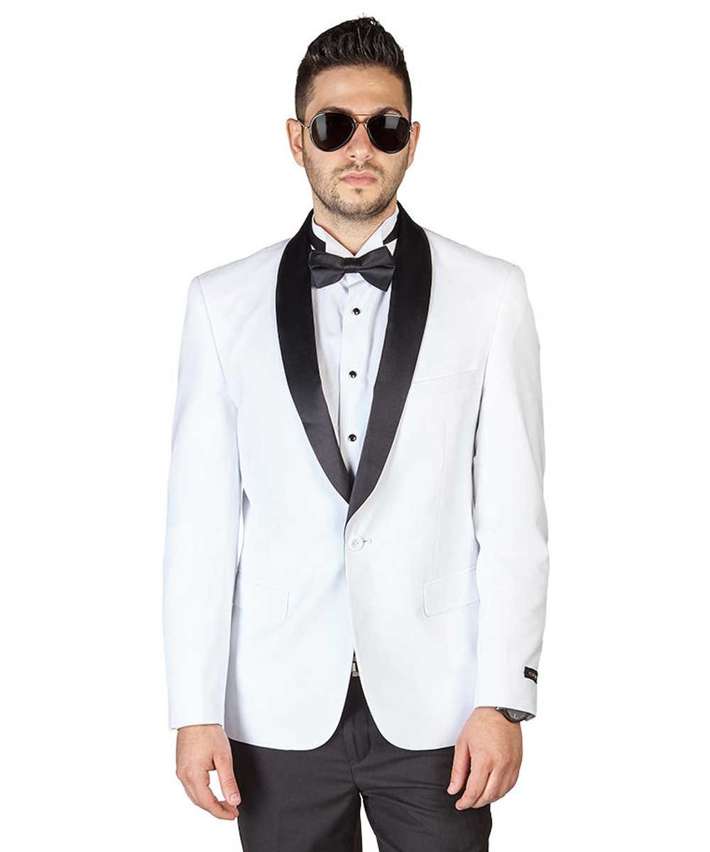 Slim Fit 1 Button Shawl Lapel Collar Tuxedo Jacket Modern Dinner Blazer AZAR (40 Short, White Tuxedo)