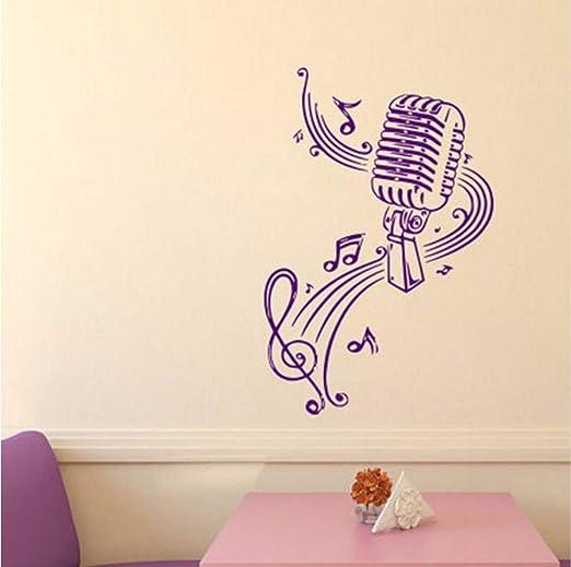 Lvabc Micrófono Y Notas Musicales Etiqueta De La Pared Decoración ...
