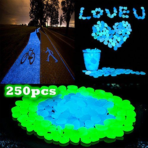 NSKELLECI Glow in the Dark Pebbles - 250PCS Eden Glow Stones, Fairy Garden Glow Rocks, Decorate Walkways, Pathways, Driveways, Landscapes with Glow Pebbles (Garden Fairy Names)