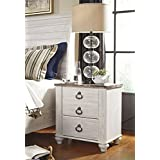 Willannet Casual Whitewash Color Wood Two Drawer Night Stand