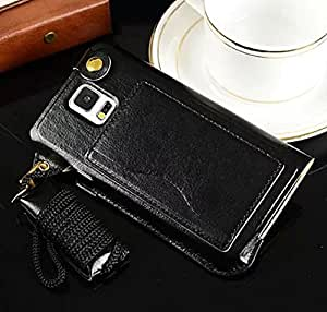 Big Mango Multi-purpose Fashion PU Leather Case Back Cover for Samsung Galaxy S5 SV i9600 with ID Card Holder & Detachable Long Neck Strap & Convertible Stand -Black