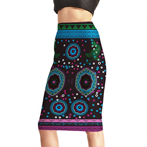 Fanii Quare Women's Elastic Casual Bodycon Print Midi Pencil Skirt Color Bubbles M (Bubble Print Skirt)