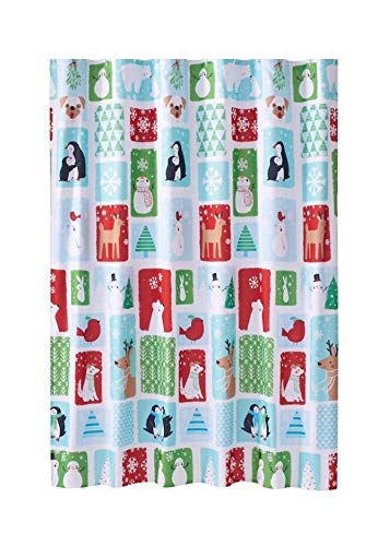 St. Nicholas Square Christmas Fabric Shower Curtain Holiday Cheer, Snow Friends Block Design