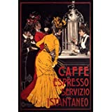 COFFEE CAFFE ESPRESSO MACHINE LARGE ITALY ITALIAN VINTAGE POSTER REPRO
