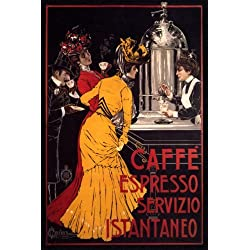 COFFEE CAFFE ESPRESSO MACHINE LARGE ITALY ITALIAN VINTAGE POSTER REPRO