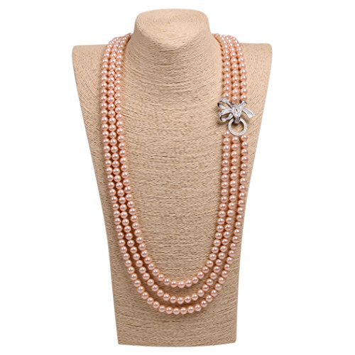 Romantic Time Three Row Freshwater Pearl And Sparkling Silver Pendant Necklace (Orange)