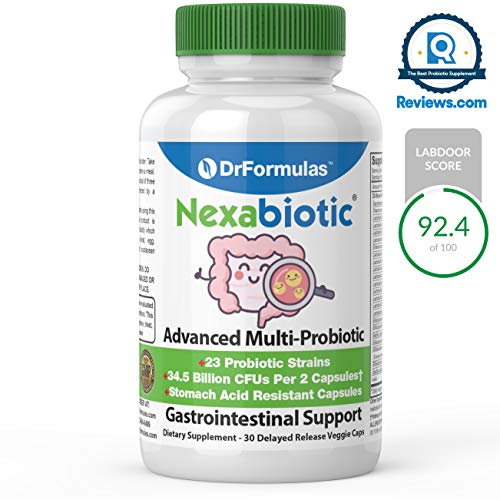 (DrFormulas Nexabiotic 23 Probiotics for Women and Men with Lactobacillus Acidophilus, Bifidobacterium Infantis, Saccharomyces Boulardii, 30 Count)