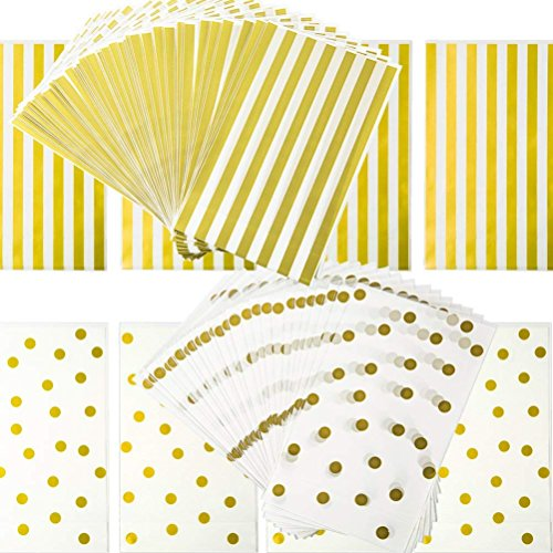 Gold Dot Gold Striped Cellophane Bags with Golden Twist Ties for Pastry Treat Candy Cookie Party Favor Bags Wrapping Wedding Gift Party Favor- 100 Pack, 6x10 inch ()