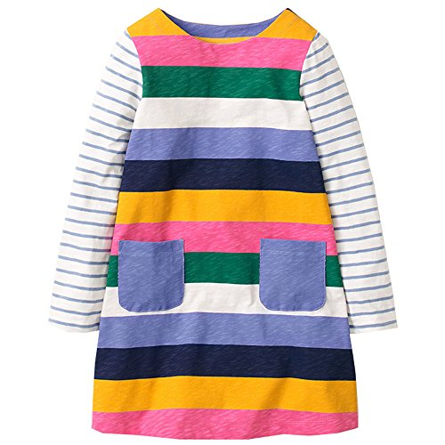 Little Girls Cotton Long Sleeve Casual Dresses Rainbow Striped Shirt With Pocket,2T/90cm,8#bluerainbow -