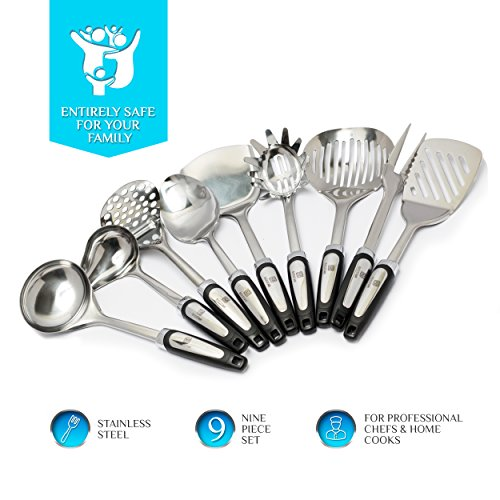 Stainless Steel Kitchen Utensil Set - 9 Piece Best Kitchen Gadgets Tool Gift - Cooking Utensils Cookware Set with Spatula by BEESTAR
