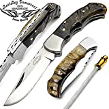 "Best.Buy.Damascus1 Ram Horn 6.5"" Hand Made Stainless Steel Folding Pocket Knife Sliver Bloster with Sharpening Rod Back Lock 100% Prime Quality Limited Edition"