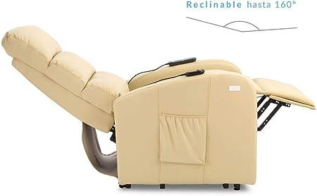Don Descanso-Sillón Relax Levanta Personas Fabricado en Full PU, Reclinable hasta 160º, Eléctrico, con Sistema de Masaje y Calor Lumbar, 8 Motores y 5 Niveles de Intensidad [Incluye 2 Mandos] (Beige)