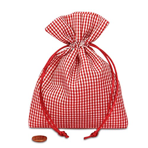 Red Gingham Fabric Bags | Quantity: 12 | Width: 6