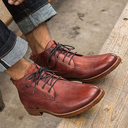 Zhuxin Herbst Vintage Winter Stiefeletten Big Größe Vintage Herbst Style Lässige Mode High Cut Lace up Echtes Leder Schuhe Für Männer (Farbe : Braun, Größe : 39 EU) ROT aa175c