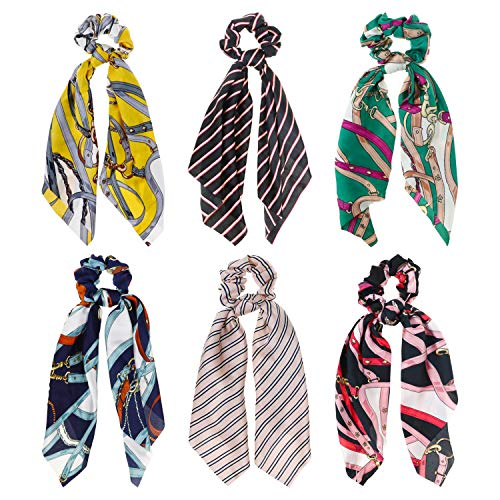 DRESHOW Hair Scarves for Women Elastic Hair Scrunchies Chiffon Ponytail Holder Hair Ties Pack -