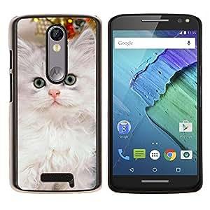 EJOOY---Cubierta de la caja de protección para la piel dura ** Motorola Moto X3 3rd Generation ** --Nebelung gatito gato persa de Siberia