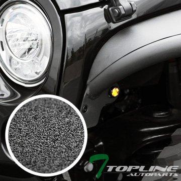 Topline Autopart Tubular Style Steel Fender Flares With Amber Side Marker Lamps (Matte Black) For 07-18 Jeep Wrangler JK 4 Door