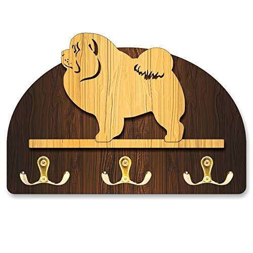 Chow Figurine - Hanger/holder leashes with figurine Chow chow, rack key of wood, handmade