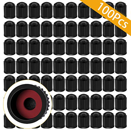 (ARTISANMAN 100PCS Tire Valve Stem Caps, Car Stem Valve Caps, Universal Tire Stem Covers for Trucks, Motorcycle, Bi00cycle, tire dust Cap(Black))