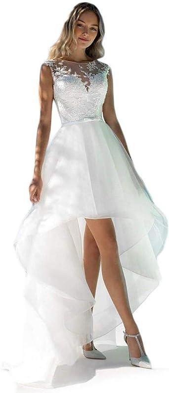 Liyuke Elegant High Low Beach Wedding Dresses Lace Appliques Bridal Dress  Sheer Back