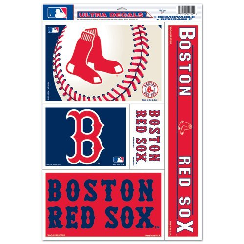 (Wincraft Boston Red Sox Official MLB 11 inch x 17 inch Car Window Cling Decal)