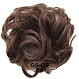 PrettyWit Hairpieces Short Curly Hair Extension Messy Hair Bun Updo Donut Hair Chignons Hair Piece Wig Scrunchy Bridal-Medium Chestnut Brown 8#