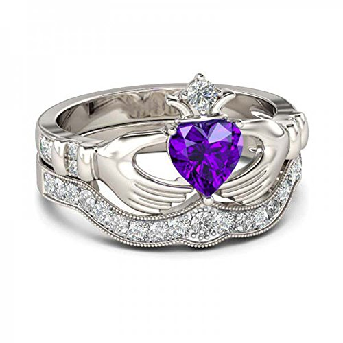 Heart Ring Claddagh Celtic Amethyst (SRJEWELS Women's 14K White Gold Plated in 925 Sterling Silver 1.00 CT Heart Cut Created Amethyst & Round White CZ Wedding Band & Engagement Claddagh Ring Bridal Set in Express Shipping)