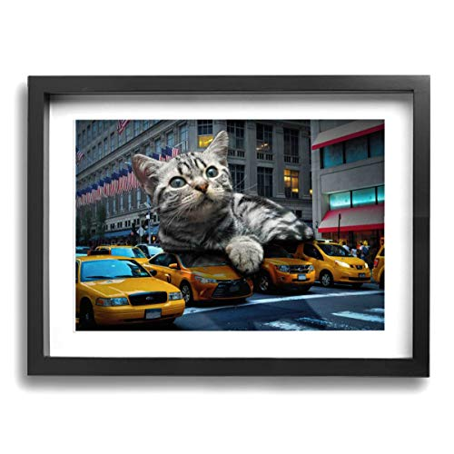 - Mikonsu Lihna 12x16 In Picture Frame Cat Giant Fun Monster Composing Catzilla Animal- Photo Paintings Modern,Home Decor Stretched And Framed Ready To Hang