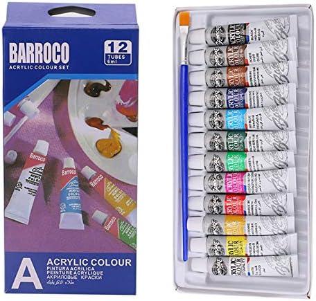 DBSUFV 6 ml 12 Kleuren Professionele Acryl Handgeschilderde Verf Muurschildering Heldere Kleur Textiel Schilderen Kunst Levert Gratis Borstel