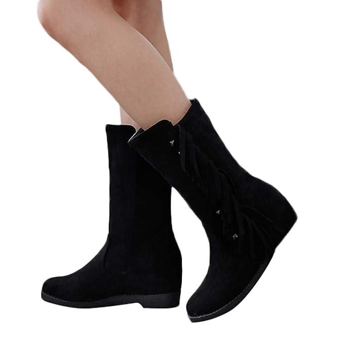 c50bb596452 Zapatos con Aumento de Borla de Moda Punta Redonda Punta Plana Tubo Medio  Botas de Fondo Plano Borla Aumentada en el Tubo Botas Martin Botas de  algodón ...