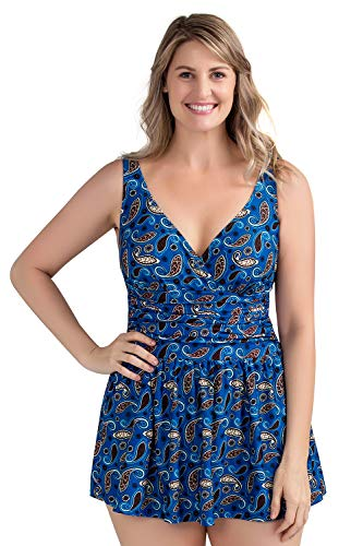 Plus Size Swimsuit for Women, Tummy Control Swimdress One Piece Swimwear with Flared Skirt Bikini Bathing Suits (18W, Ocean)