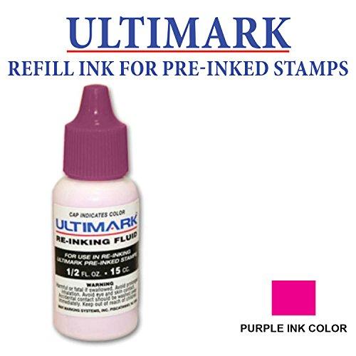 Ultimark Refill Ink for All Pre-inked Stamps, 15 ml Bottle, Violet Ink