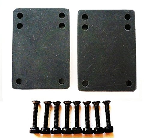 "VJ Skateboard Riser Pads 3mm Black w/ Skateboard Screws Hardware BK 1"" 1.25"" 1.5"" 1.75"" 2"" (1"" black screws)"